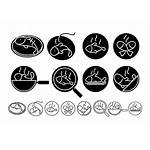 Fish Fry Icons Vector Outline Icon Retro