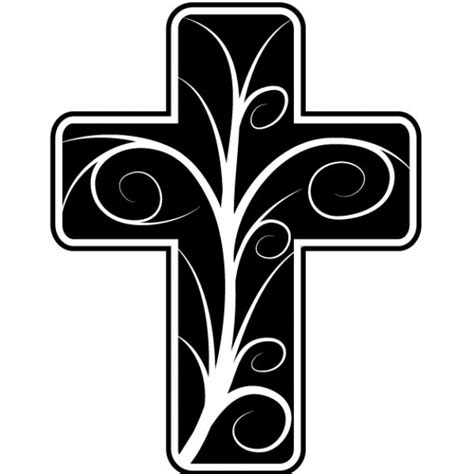 Catholic cross with floral design Free Vector