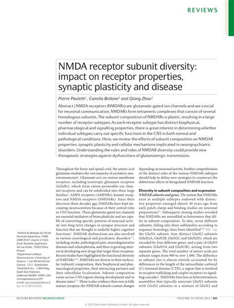 full form of nmda pdf nmda receptor subunit diversity impact on receptor
