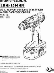 Craftsman 315116890 User Manual Drill Driver Manuals And