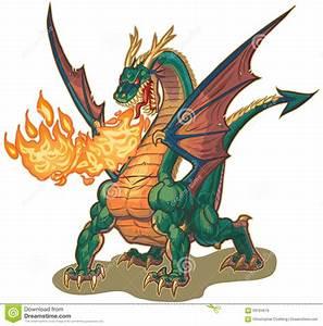 Muscular Dragon Breathing Fire Vector Illustration Stock ...