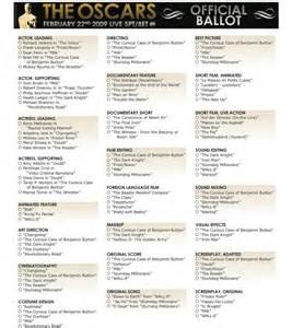 2015 Printable Ballot Oscar Academy Award