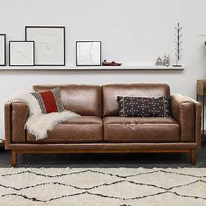 Dekalb premium leather sofa from west elm the leather was for West elm sectional sofa brown