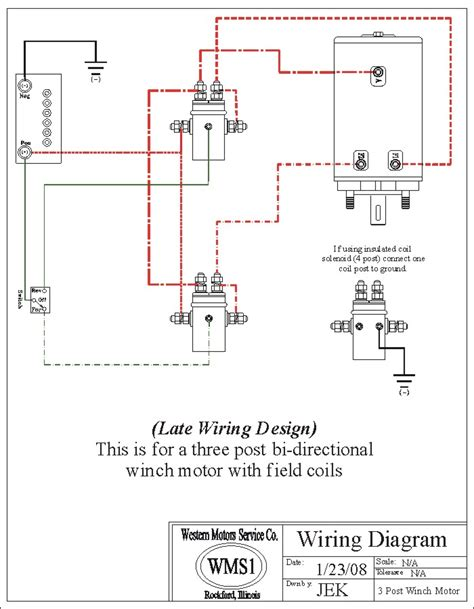 2 Solenoid Winch Wiring Diagram by 2 Solenoid 3 Post Winch Motor Field Coils Western Motor
