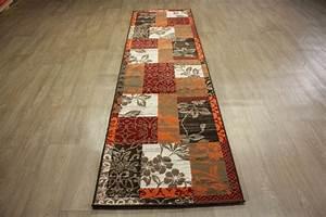 Läufer 80 X 300 : teppich velour patchwork l ufer 80x300 cm carpet orange braun ebay ~ Markanthonyermac.com Haus und Dekorationen