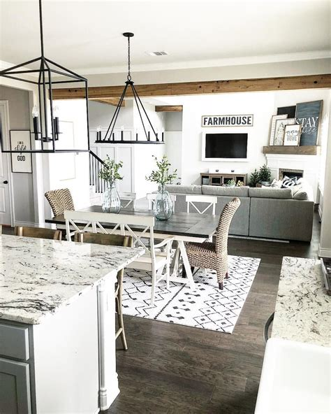 Decorating Ideas Kitchen Dining Room by Farmhouse Style Open Layout With Kitchen Dining Room And