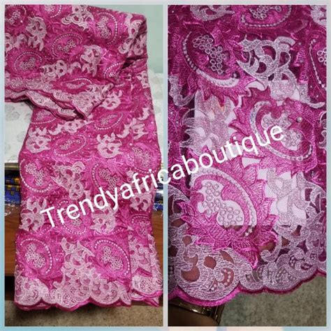 arrival hot pink african french lace fabric sold