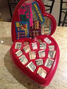valentine chocolate heart box with cash and lottery ...