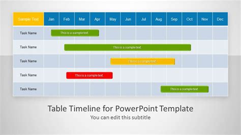 powerpoint project schedule template table timeline