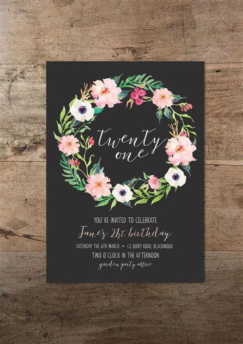 twenty  invitation floral twenty  st birthday