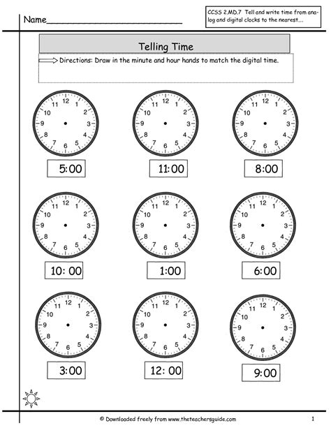 time to the hour worksheets telling time worksheets from the s guide