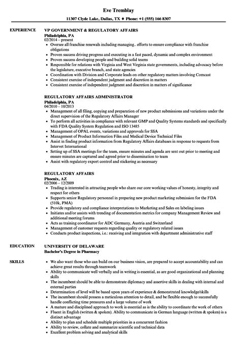 Pharmaceutical Regulatory Affairs Resume Sle Regulatory Affairs Resume Sles Velvet