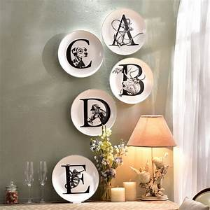Creative ceramic wall animal letters plate decorative wall for Porcelain wall letters