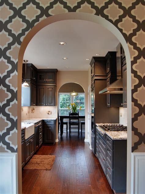quatrefoil wallpaper contemporary kitchen behr