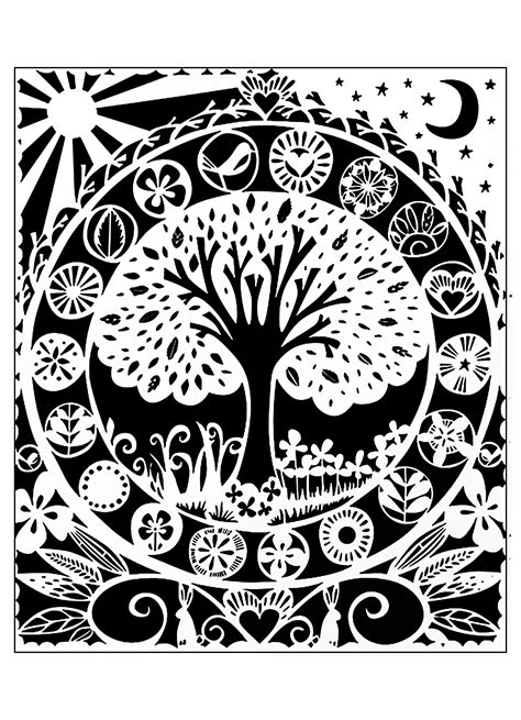 tree coloring pages  adults