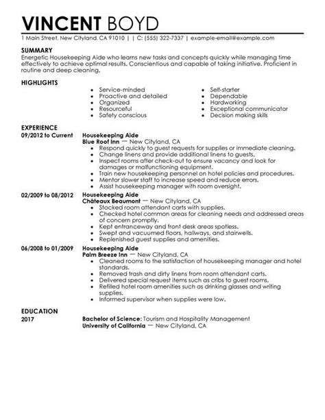 Resume Format For Housekeeping by Resume Exles Housekeeping Exles Housekeeping