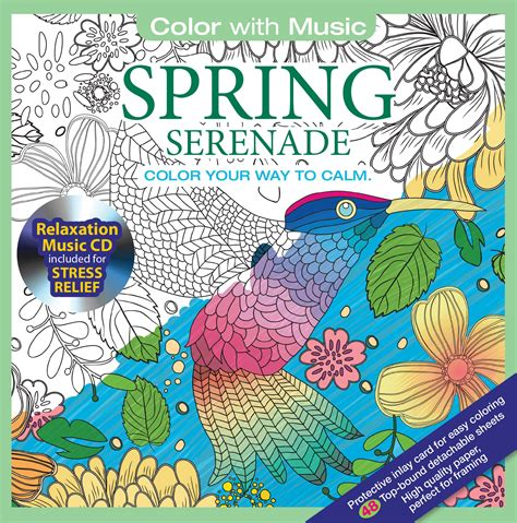 spring serenade adult coloring book with relaxation cd