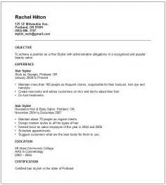 hair stylist resumes templates creative arts and graphic design resume exles