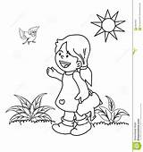 Coloring Garden Kid Plants Birds Sun Sprinkler Drawn Hand Illustration sketch template