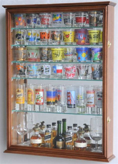 shot glass curio cabinet shotglass collector case mirrored back large curio