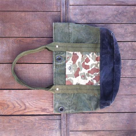 jyumoku short tote repurposed military duffle bag canvas