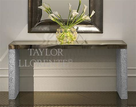 designer console table  crushed glass taylor