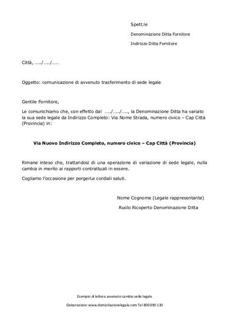 Variazione Sede Legale Lettera Per Avvenuto Cambio Di Sede Legale