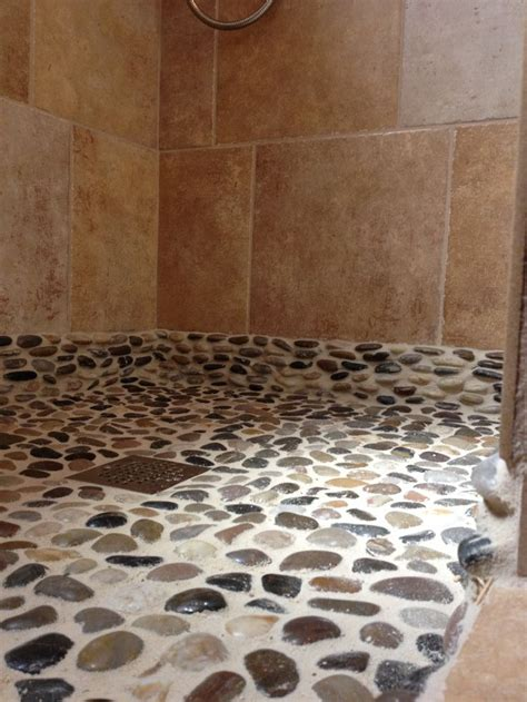 pebble floor  sand colored grout  extended