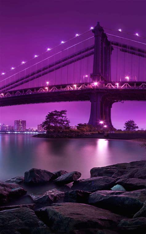 wallpapers purple bridge night s7 kindle fire hd hdx galaxy brooklyn york samsung manhattan awesome wallpapersafari states united pretty hdwallpapers
