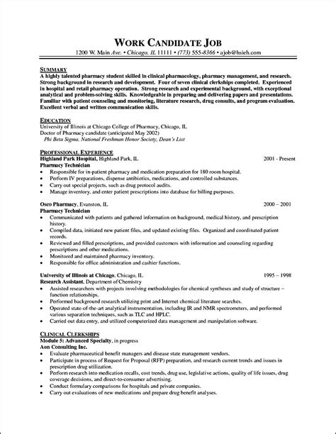 Curriculum Vitae Resume Sles by Pharmacy Curriculum Vitae Exle Free Sles