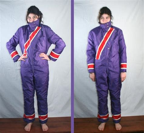 vintage ski doo snowmobile suit purple  red womens large