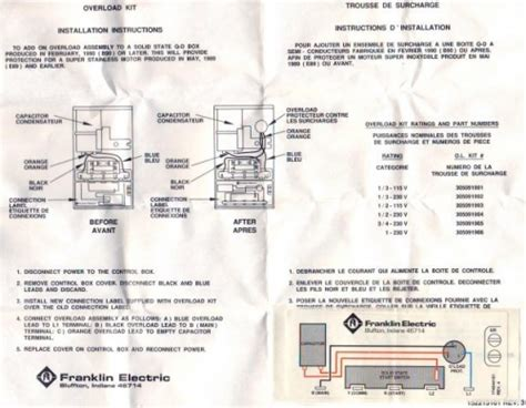 Water Wiring Diagram 230v by Franklin Electric Kit 1hp 230v Box