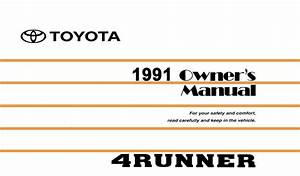 1991 Toyota 4runner Owners Manual User Guide Reference
