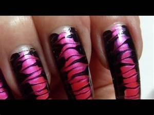 Corset In Drag Black & Hot Neon Pink Needle Nail Art