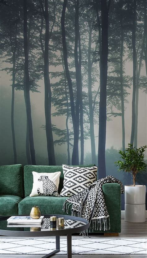 sea  trees forest mural wallpaper   forest room