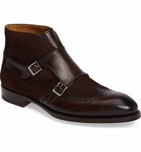handmade mens monk strap brown leather and suede boot men With custom leather boots mens