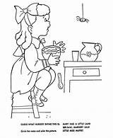 Nursery Coloring Rhymes Muffet Miss Mother Goose Rhyme Pages Embroidery Sheets Bluebonkers Quiz Colouring Printable Fun Characters Books Hand Children sketch template