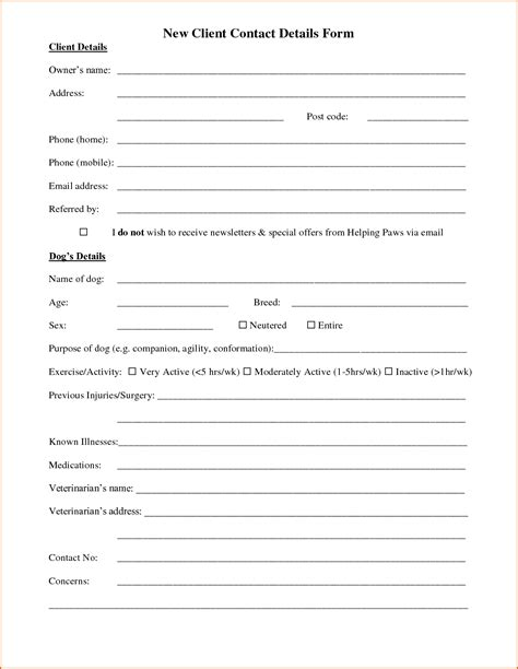 Customer Details Form by 13 Customer Information Form Template