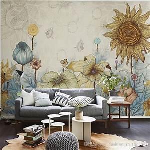 Sunflower Photo Wallpaper Vintage Wall Murals 3d Custom ...