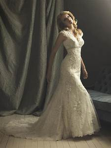 vintage lace wedding dress with cap sleeves ipunya With vintage ivory lace wedding dress