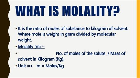 Molarity Vs Molality