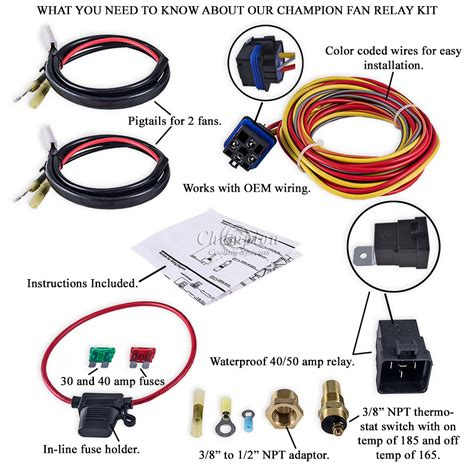 chion cooling 180 degree 40 electric fan relay kit