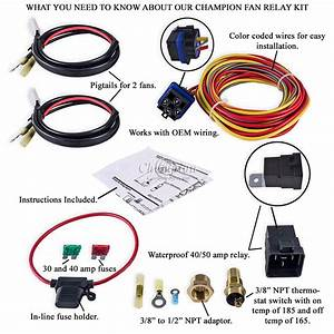 Champion Cooling 180 Degree 40amp Electric Fan Relay Kit