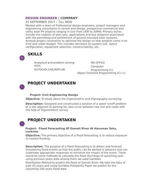 resume templates  civil engineer freshers
