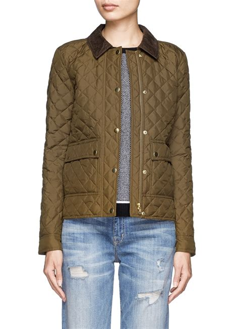 j crew quilted jacket j crew quilted tack jacket in green blue and green lyst