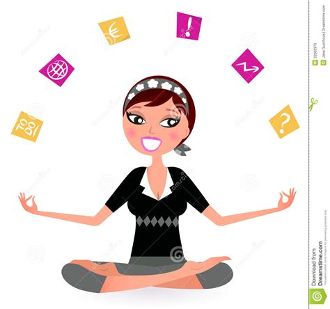 Stressed Business Woman Juggling With Many Notes Stock Vector - Image: 22062979