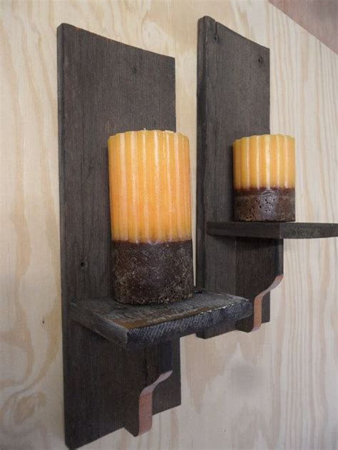 rustic wall sconces primitive candle holderswooden