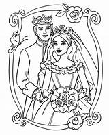 Coloring Couple Barbie Fancy Princess Printable Prince Sheet sketch template