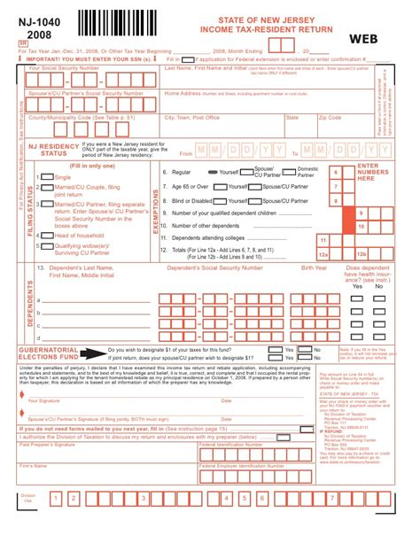 nj tax income return resident state jersey 1040 slideshare