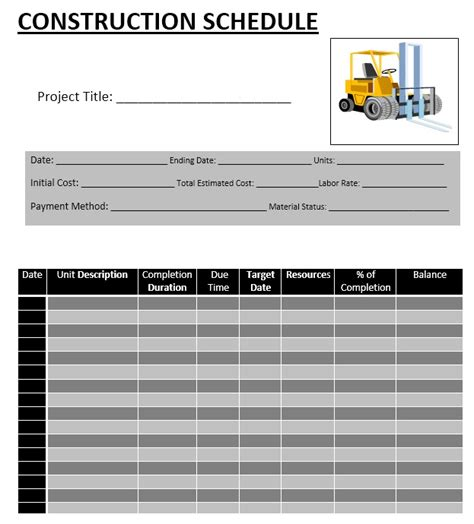 construction schedule templates  ms word  ms excel